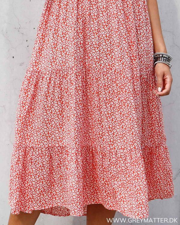 Pieces rød kjole med print