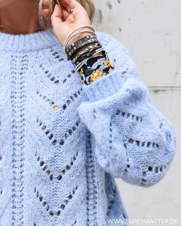 Pieces lyseblå strik bluse