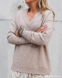 Viril Oversize V-Neck Taupé Knit